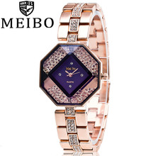 MEIBO Luxury Brand Fashion Rhinestone Rose Gold Stainless Steel Wrist Watch Women Casual Quartz Watch Relogio