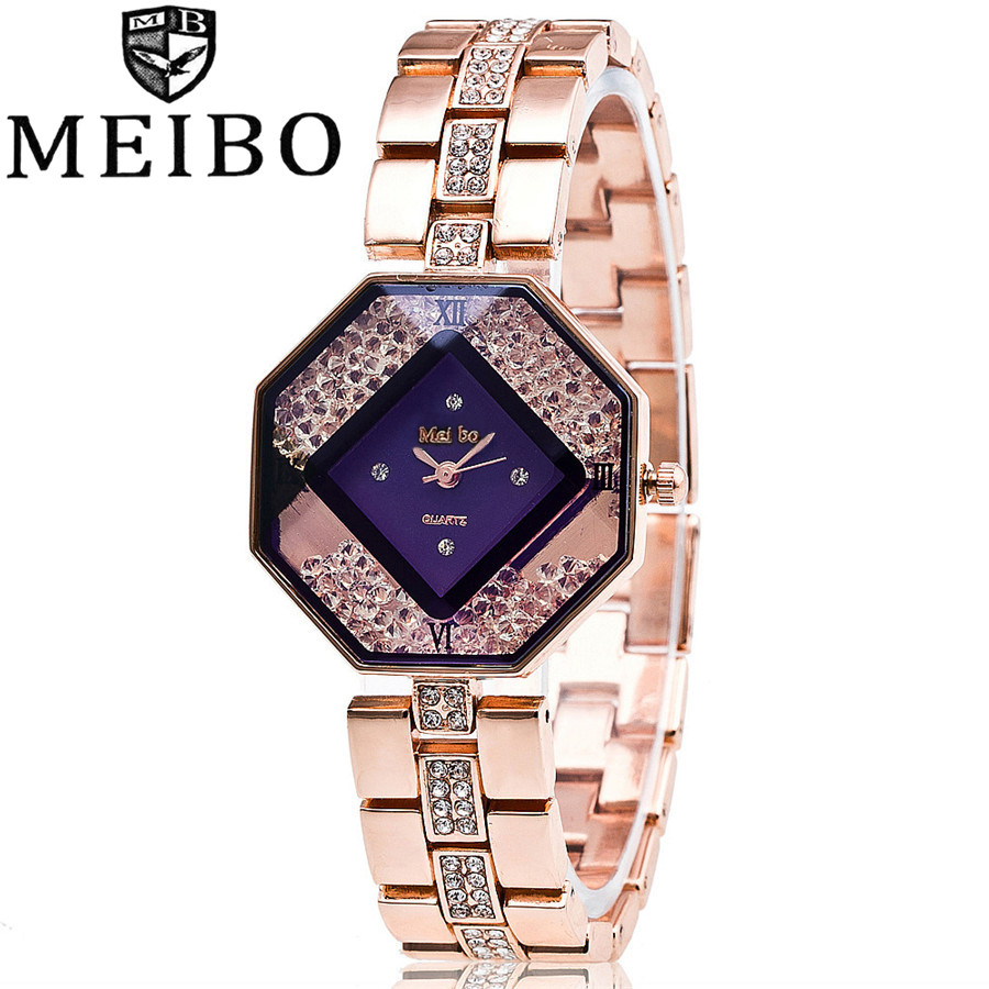MEIBO Luxury Brand Fashion Rhinestone Rose Gold Stainless Steel Wrist font b Watch b font font