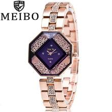 MEIBO Luxury Brand Fashion Rhinestone Rose Gold Stainless Steel Wrist font b Watch b font font