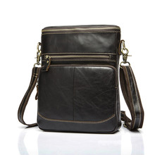wholesale 2016 Fashion leather Crossbody Bag genuine Leather Men Retro male zipper shoulder bag