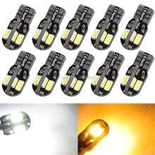 цена на 10PCS Canbus Error Free T10  8 5730 SMD LED Car Side Wedge Light Lamp Bulb White/Warm White