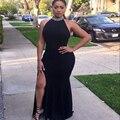 Negro atractivo de La Sirena Vestidos de Noche Largos 2017 Raja Del Lado Formal Prom Noche Del Partido Africano Vestido abendkleider Robe De Soirée