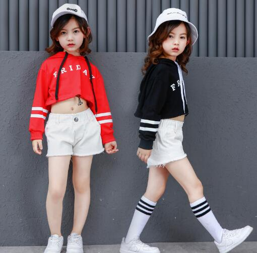 Girls Two Piece Set Long Sleeve Children Crop Tops & Shorts Kids Hip Hop Dance Clothes For Girls Children Clothing Outfit