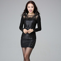 Hot Style In Europe And America Age Season PU Leather Net Yarn Splicing Render Unlined Upper