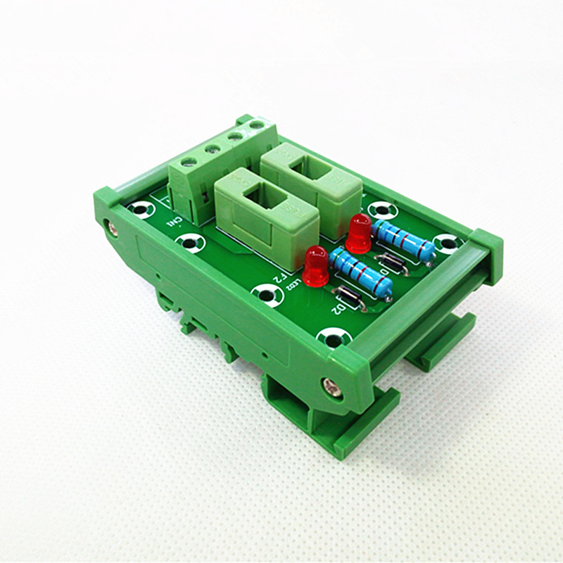 DIN Rail Mount 2 Position Fuse Module Board,Fuse Holders for 5x20mm(DxL) tube fuse.