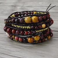 Mookaite bead bracelet boho wrap bracelet natural stone bead bracelet yoga jewelry bohemian