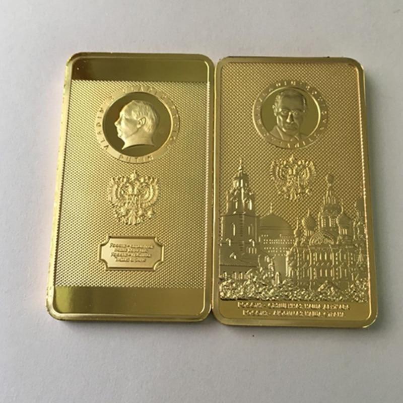 2 ks Putinův kooptant Ruska odznak Putin Moskva moskevský 24k zlatý ruský suvenýr baar coin