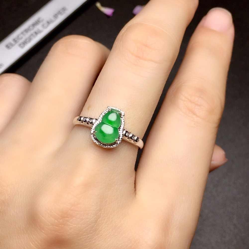 เครื่องประดับ 18 K สีขาวทองธรรมชาติสีเขียวหยกพม่าแหล่งกำเนิดสินค้า Gourd หมั้นหญิงแหวนสำหรับผู้หญิงแหวน