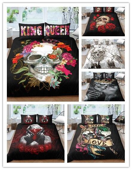 3D  Digital Printing Scream Skull Bedding Set  Skull Duvet Cover 100% Microfiber Set Twin/full/queen Size