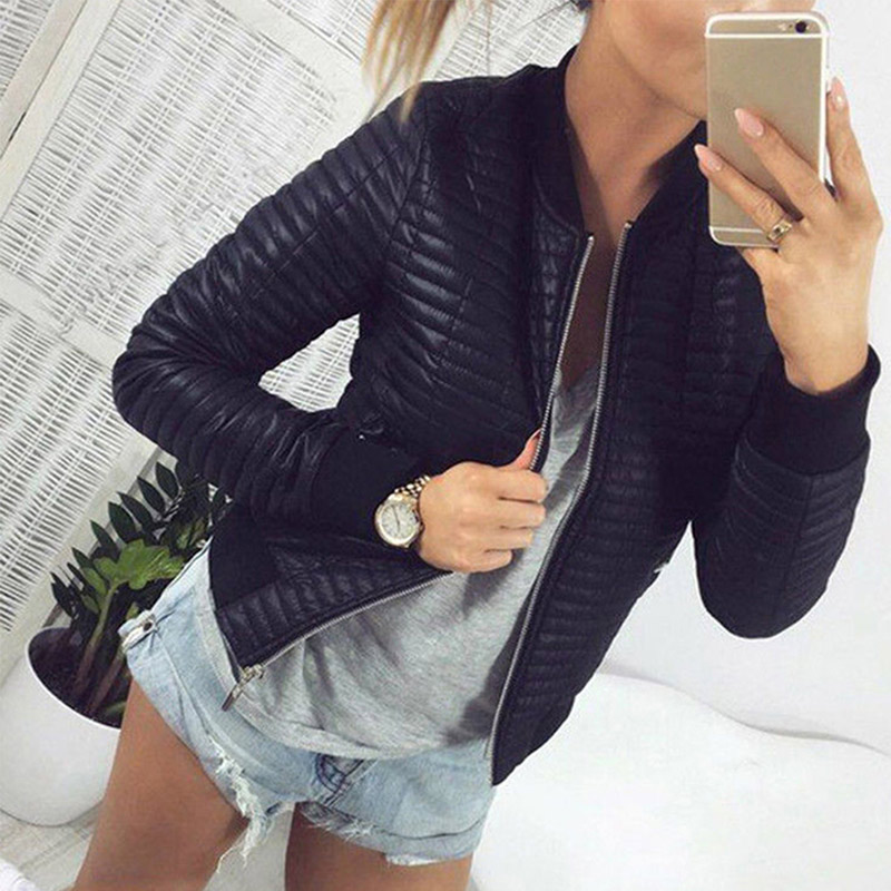 Long Sleeve Stand Collar Zipper Cardigan Women Jackets Black Basic Bomber Short Jacket 2019 Spring Autumn Slim Coat Ladies