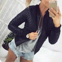 Long Sleeve Stand Collar Zipper Cardigan Women Jackets Black Basic Bomber Short