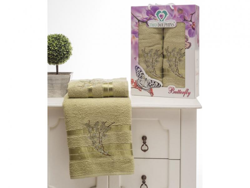 Towel set TWO DOLPHINS, Butterfly, 2 subject, Green two tone handle eye brush set 3pcs