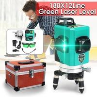 12 Line 360 Auto Self Leveling GREEN Laser 30m 3D Vertical Horizontal Level Cross Shockproof Shatter proof Vertical Horizontal
