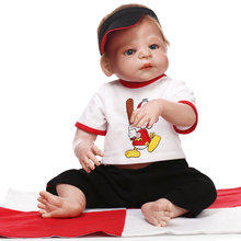 23 Inch/57cm Realistic boy baby reborn	 dolls full  full silicone body rooted mohair dolls for girls toys bebe gift bonecas