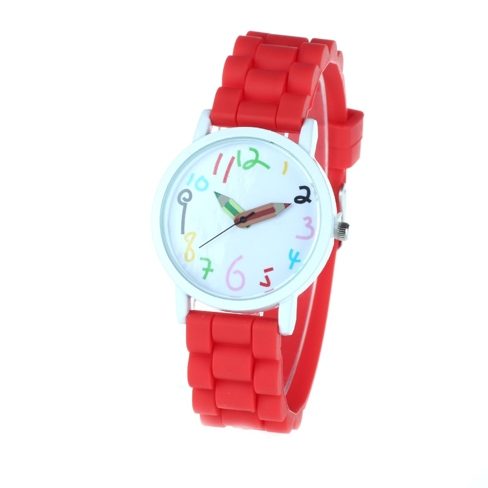 Womens Quartz Wristwatches Lovely Grils Watches Silicone Band Big Dial Pencil Numbers Reloj Mujer Relogio Feminino Children Gift