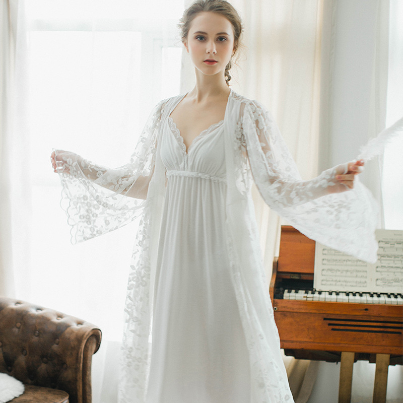 Maternity Nightgown Photo Autumn and Winter Pajamas Two-piece Lace Harness Nightdress Ho ...