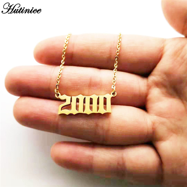 Personalized Year Number Necklaces for Women Custom Year 1994 1995 1996 1997 1998 1999 2000 2019 Birthday Gift from 1980 to 2019