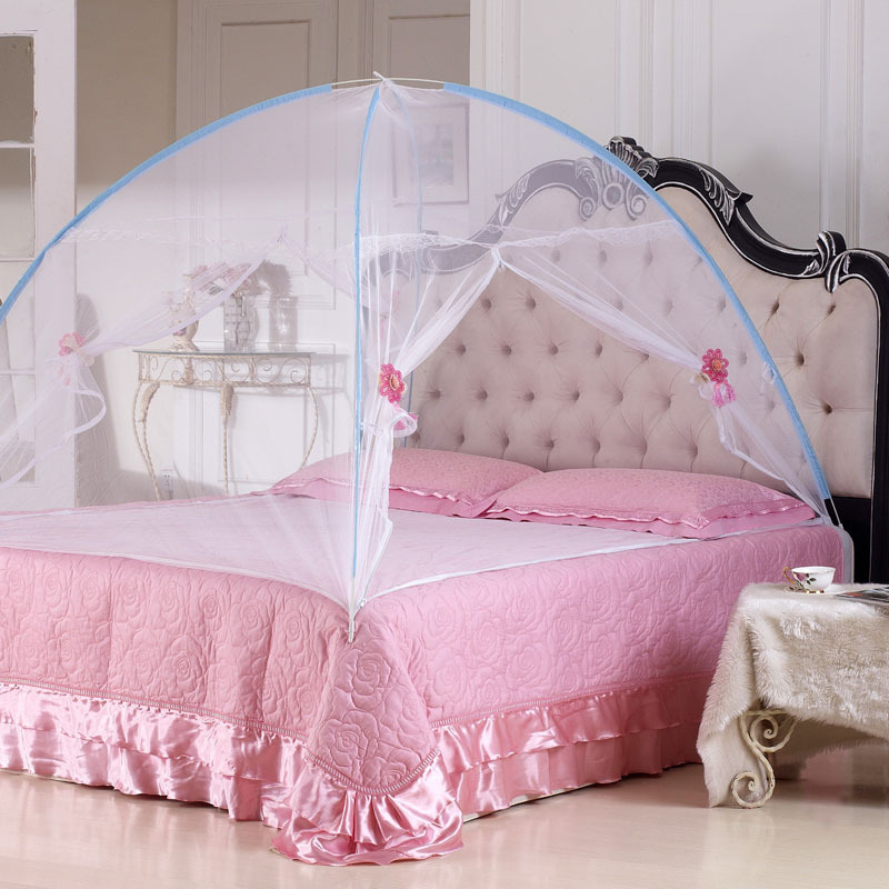 2016 New Summer Bi-parting Folding Mesh Insect Bed Mongolian Yurt Mosquito Net King/Queen Size Bedding Canopy Curtain Dome Tent