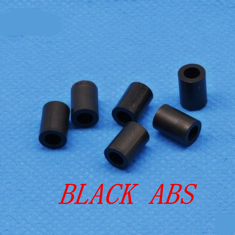 50pcs M3 M4 black Nylon ABS Non-Threaded Spacer Round Hollow Standoff Washer ID 3mm 4mm PCB Board Screw Bolt