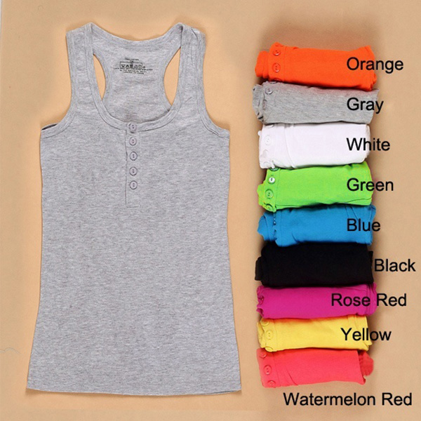 Fashion Women Sleeveless   Tank     Top   Bodycon Cotton Long T-shirt Vest Slim   Tops   JL