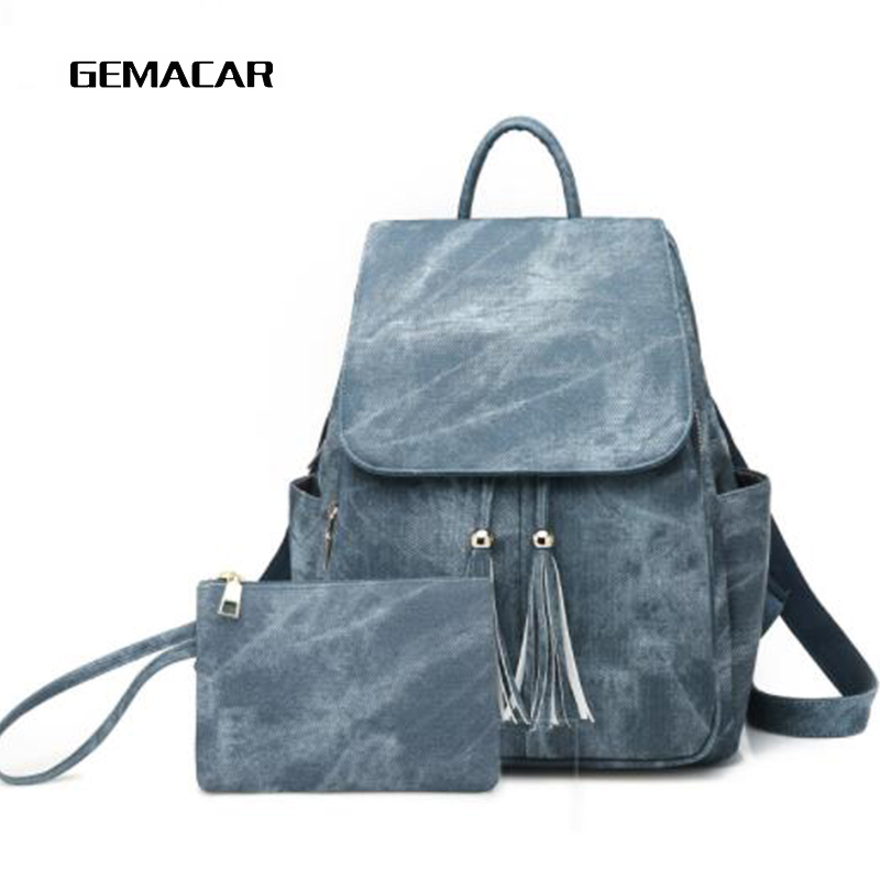 Simple Female Backpack Fringe Design Casual Lady Bagpack Imitation Leather High Quality Bag Youth Girl Backpack College Style in Backpacks from Luggage Bags