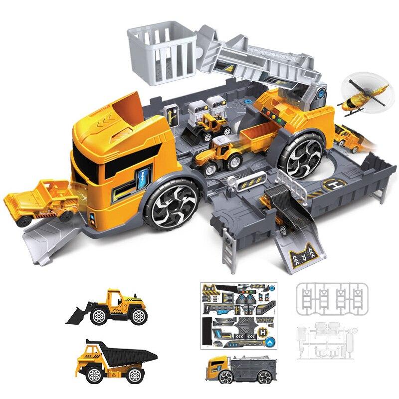 Kids Puzzle Toys Deformation Fire Engineering Vehicle Storage Parking Lot Parent-Child Interaction Inertia Car Model Set