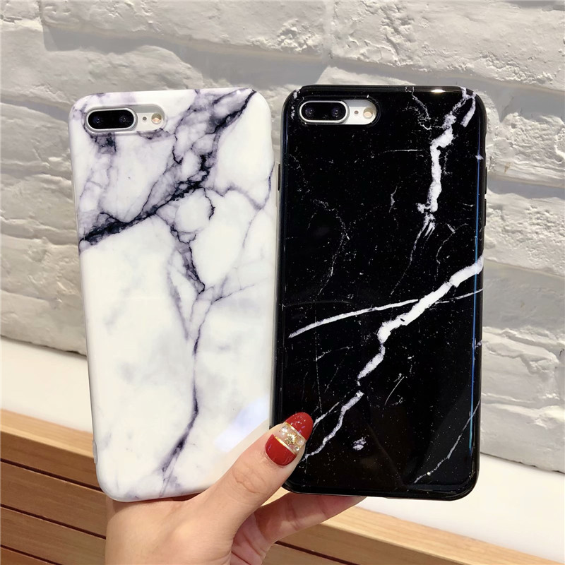 360 Degree Full Body Protective Iphone X 6 6S 7 8 Plus Marble Stone Soft Silicone Cover For Iphone 7 Case Glass