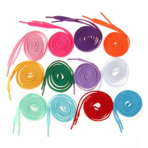 VSEN 12 Pair of Broad laces For Shoes Boots - 8mm - 12 Colors