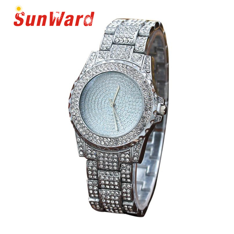 Sunward Relogio Feminino Full Diamond Sand Drill Surface Women Round Stainless Steel Band Quartz Wrist Watch