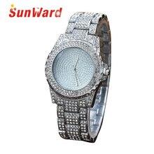 Sunward Relogio Feminino Superficie de Perforación de Diamante Lleno de Arena de Las Mujeres Ronda Banda de Acero Inoxidable Reloj de pulsera de Cuarzo Horloge 17May11
