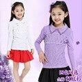 Camisa da menina Outono Inverno Novas Crianças Rendas de Algodão de Manga Comprida T-shirt 4 Cor Crianças Roupas Finas e Engrossar