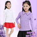 Girl's Autumn Winter Shirt  New Children Lace Cotton Long Sleeved T-shirt 4 Colour Kids Clothing Thin and Thicken