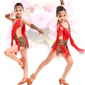 New tassel latin dance kids latin dresses leopard yellow red  sequined tango salsa samba dress rumba costumes girls dancewear
