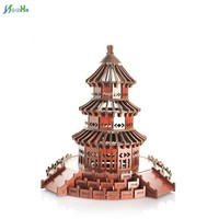 3D Puzzles Toys Children Educational DIY Wooden Building Model Chinese Woodcraft Construction Kit Temple Of Heaven Kids Adult