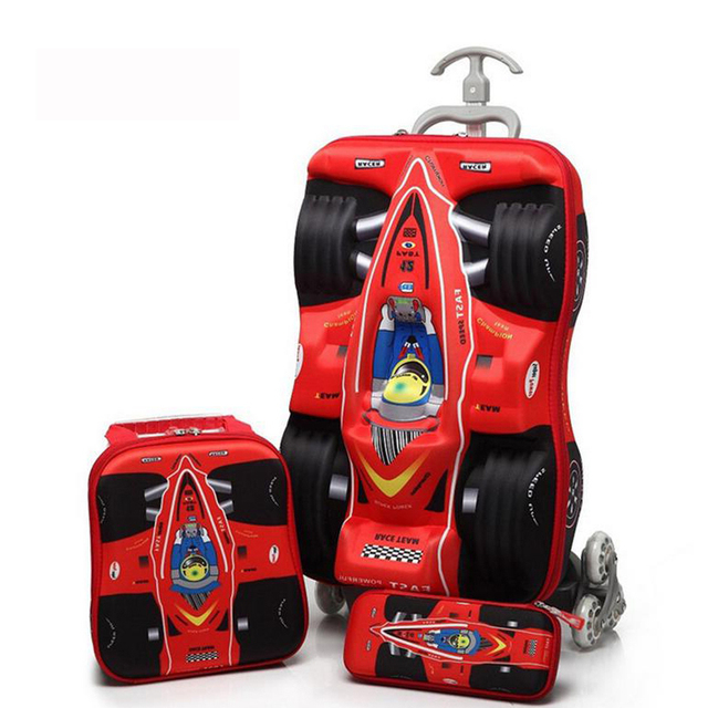 82b5b1b21 3D stereo trolley bag cute Compact car kids travel suitcase boy girl  cartoon Travelling luggage Boy Girl Gift 4 colors to choose