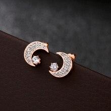 Korean Style Stainless Steel New Moon Stud Earring Fadeless Rhinestone Oorbellen Voor Vrouwen Pendientes Dropshipping Jewellery