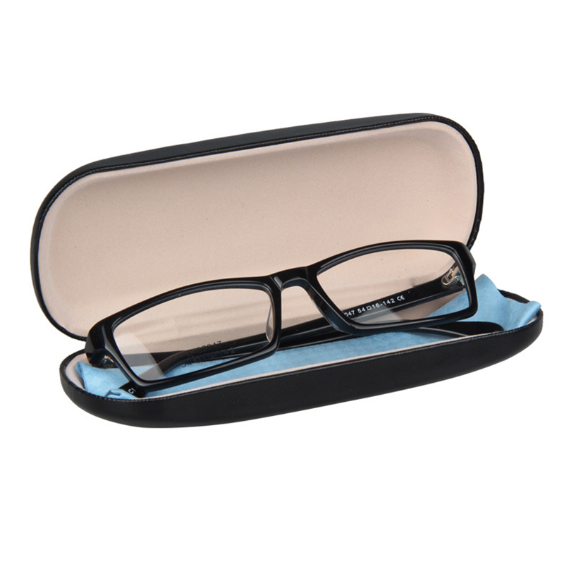 Glasses Case - Black Metal And Leather For Small And Medium Frames