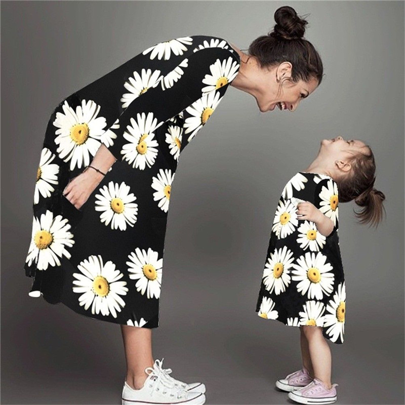 Family Matching Pullover Dress Outfit Girl Cotton Casual Floral O-Neck Summer 3/4-Sleeve