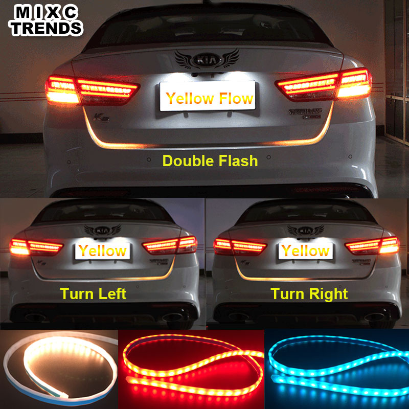 MIXC TRENDS Turn Signal Amber Flow Led strip trunk Tail Light Ice Blue LED DRL daytime running light RED Brake Light for <font><b>BMW</b></font>