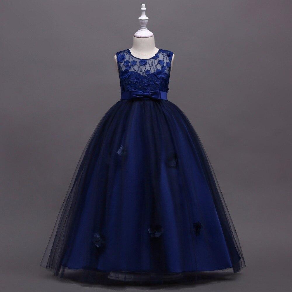 Hot Selling Navy Blue Flower Girl Dresses 2018 In Stock A Line