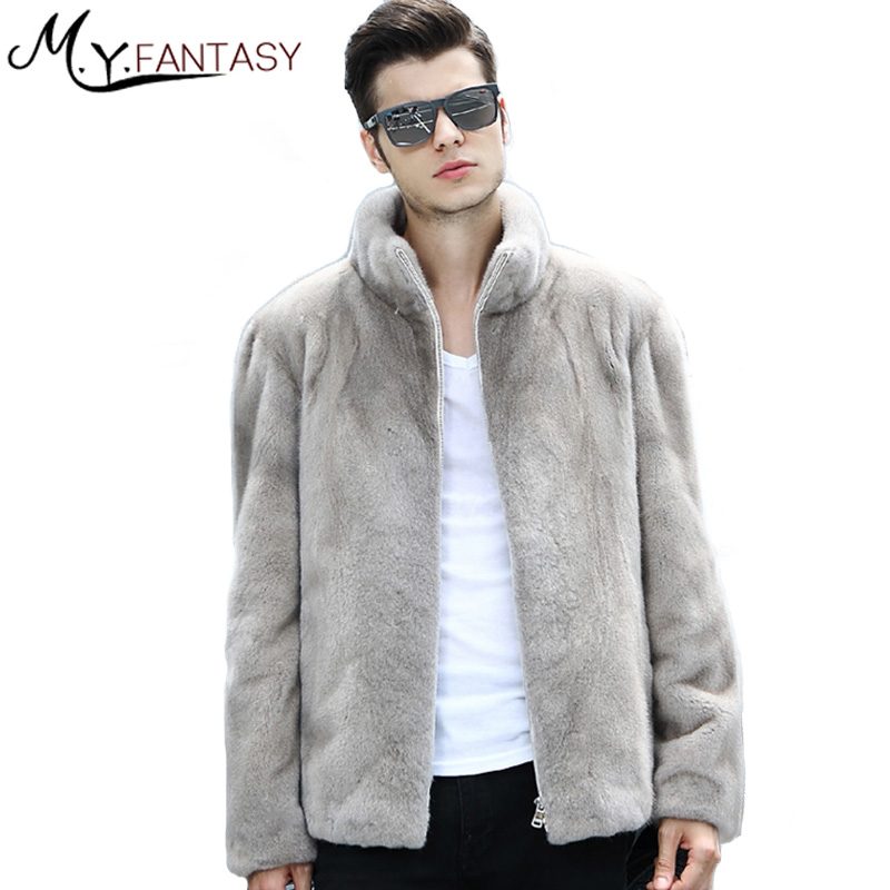 Mink-Coat Long-Sleeve Real-Fur Winter Cool Casual Warm Man Business Stand Zipper M.Y.FANSTY