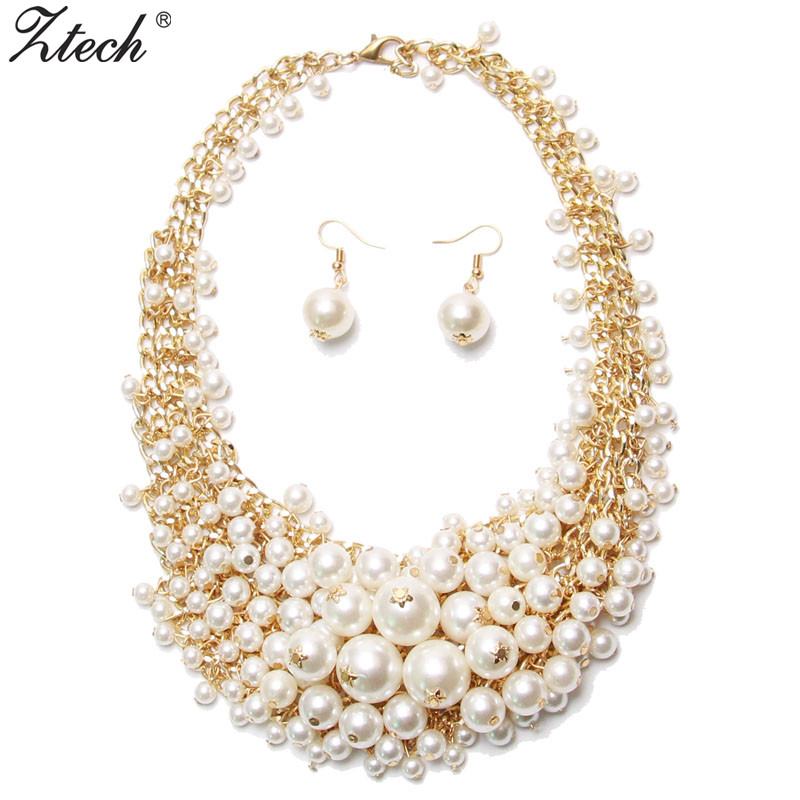 Ztech Maxi Jewelry Simulierte Perlenketten & Ohrringe Set Statement Collar Choker Halskette Für Frauen Collier Jewelry Sets