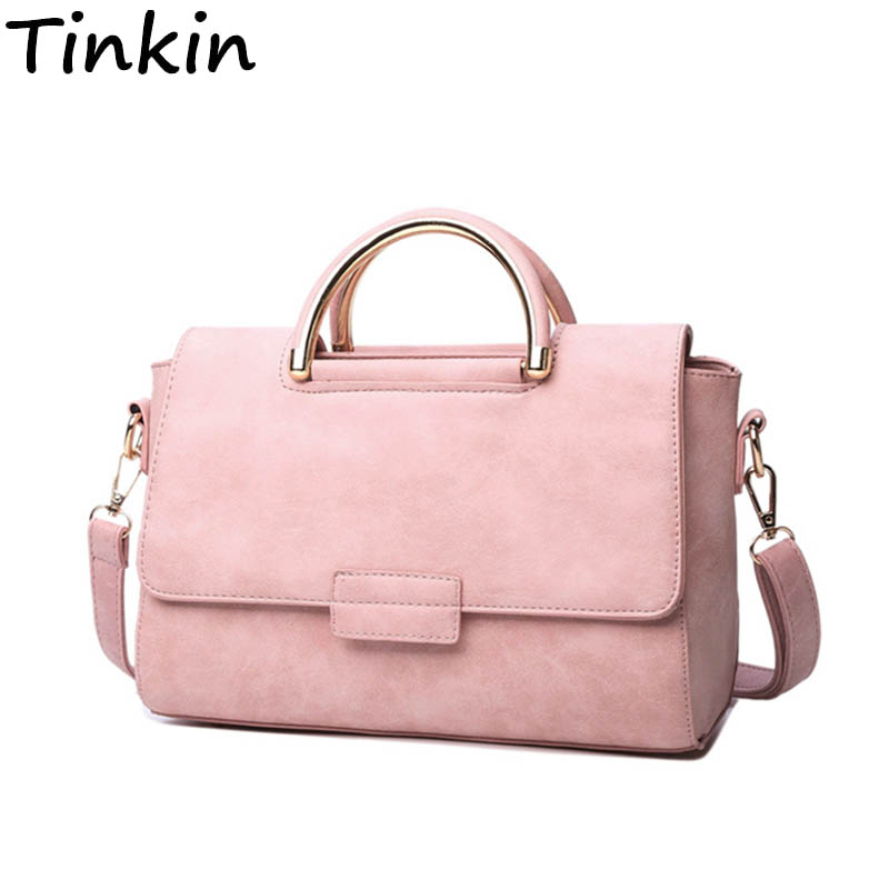 Tinkin All-match Women Bags Fashion Nubuck Leather Handbag High Quality Medium Shoulder Bag Frosting Femal Tote Messenger Bag