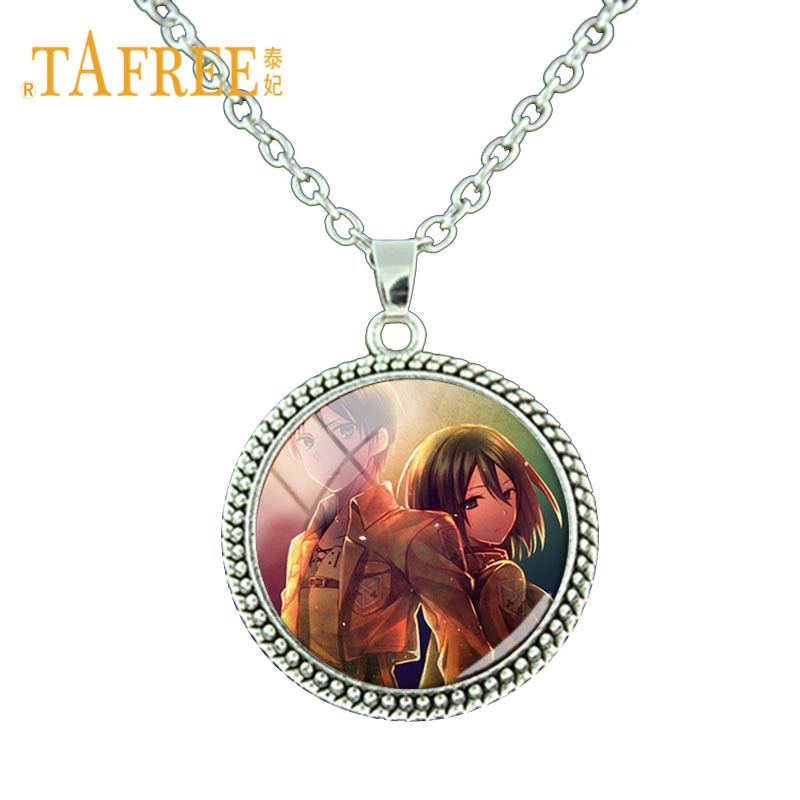 TAFREE New Arrival Anime Attack on Titan Necklace Cartoon Photocard Glass Cabochon Pendant Necklace Anime Lovers Jewelry BTS35