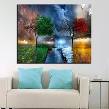 Frameless Wall Artwork Picture Four Seasons Fantasy Landscape Tree DIY Painting By Numbers Acrylic On Canvas Kits Drawing