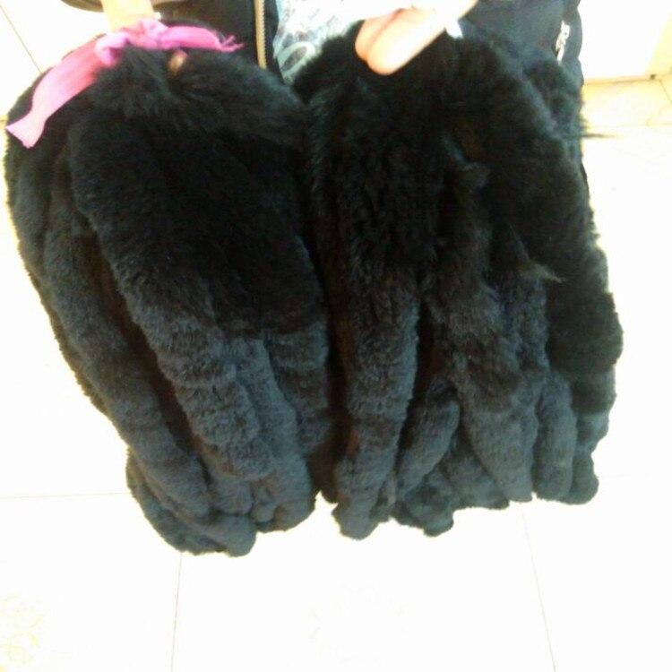 Bandes de fourrure de lapin de couleur noire/découpe de la fourrure de peau de lapin véritable pour accessoire de vêtement - 3