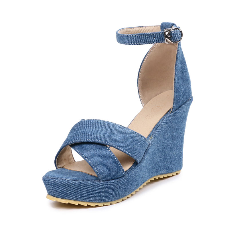 f19628e751d6 Daitifen Women s Summer Footwear Denim Wedge Sandals Ladies Cross-Tied  Heeled Shoes Buckle Party Wedding Shoes Platform Sandals