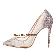Women High Heel Crystal Shallow Pumps Shinning Pointed Toe Mesh jewelry Wedding Dress Bling Lady Stiletto Heel Shoes Plus Size new arrival shining crystal pointed toe pumps silver stiletto heel multi color beaded bridal shoes jewel dress shoes dropship