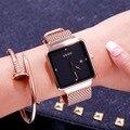 Женские кварцевые часы Fahion Guou  кварцевые часы с большим циферблатом и квадратным циферблатом  розовое золото  сетка  сталь