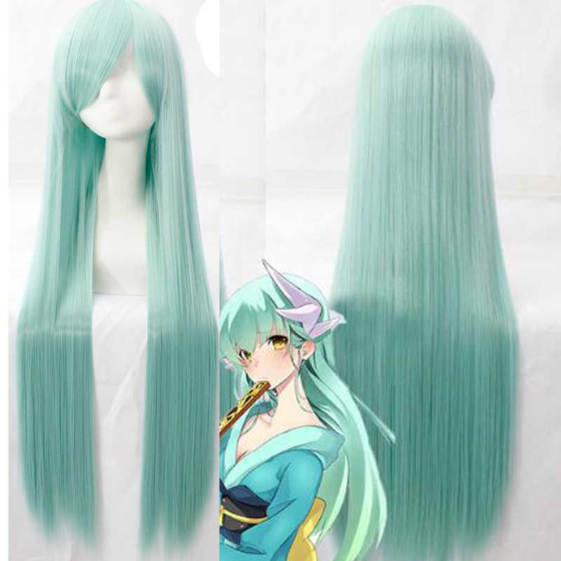 FGO Fate Grand Order คอสเพลย์วิกผม Berserker Kiyohime Wigs ผู้หญิง 100 เซนติเมตรยาวสังเคราะห์ตรงยาว + หมวกวิกผม